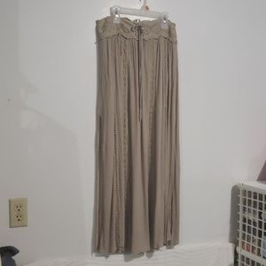 Altar'd State Taupe Long Skirt High Slits Sz M